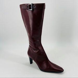 Franco Sarto Wine Colored Heeled Boots NWOB